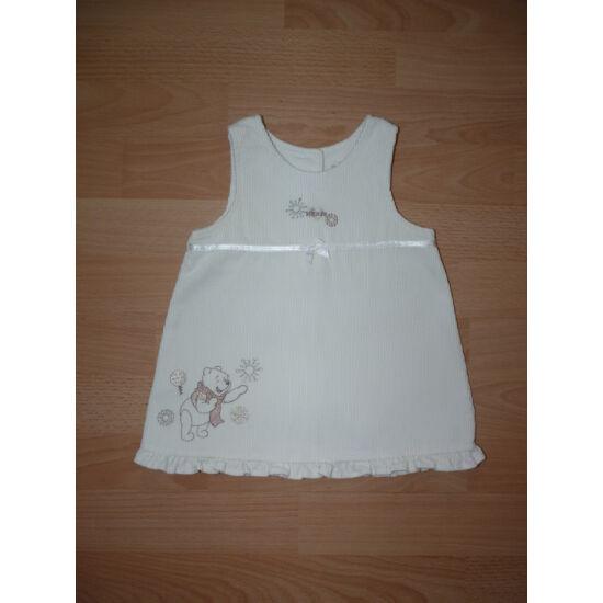 62/68-as, gyönyörű, Disney Micimackóval díszített krémszínű ruha/alkalmi ruha
