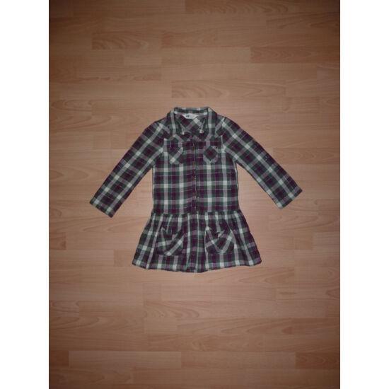 110-es H&M zöld-lila-vajszínű kockás csinos ruha/tunika