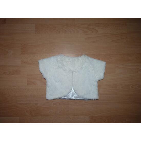 110-es fehér, gyönyörű, puha műszőrme boleró
