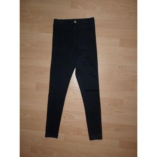 ~152-es, magas derekú, szűk, divatos csillogós fekete sztreccs nadrág