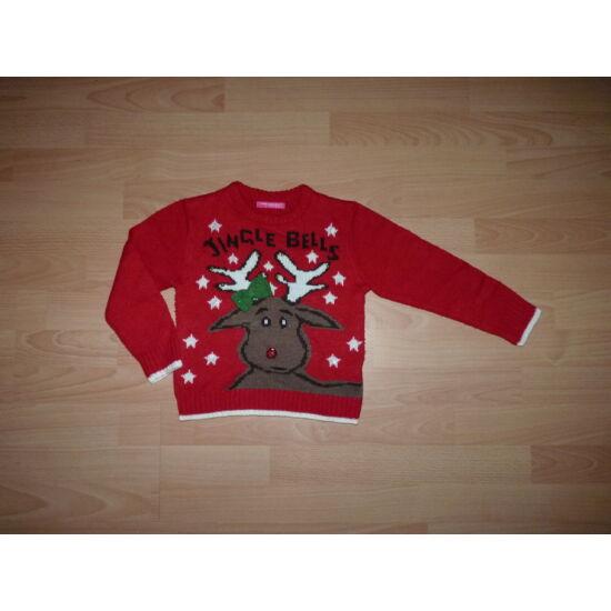 110/116-os rénszarvas mintás pulóver