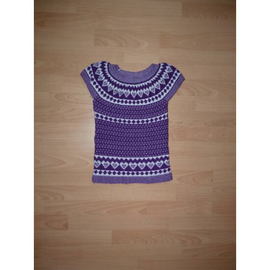 104/110-es lila kötött ruha, tunika