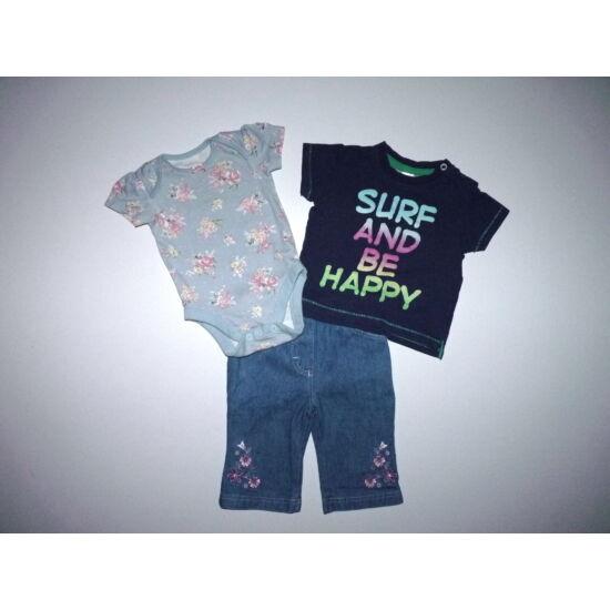 68-as 3 darabos kislány ruhacsomag body, póló, nadrág