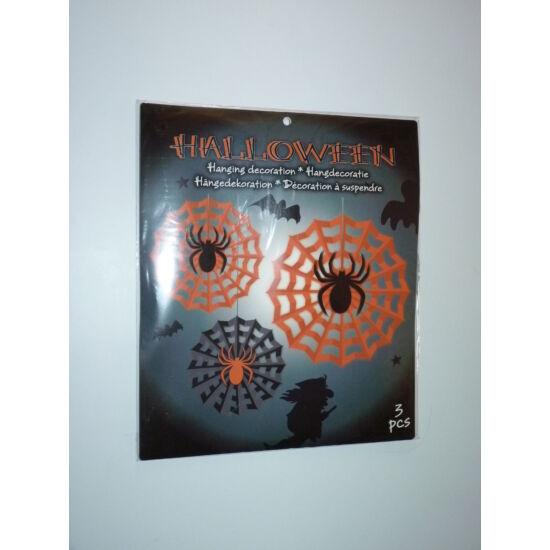 Halloween függő dekoráció - narancs-fekete pók hálóban