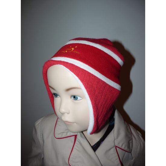 Polár bélelt, kötött-polár piros füles sapka ~5-7 évesre