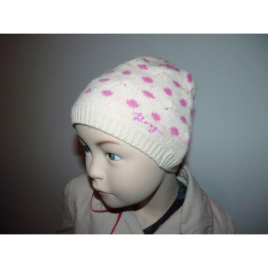 Kötött pöttyös sapka húzott díszítéssel ~2-4 éves kislányra