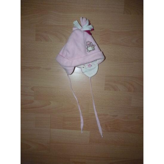 Rózsaszín, hóember mintás polár sapka, pamut béléssel babáknak
