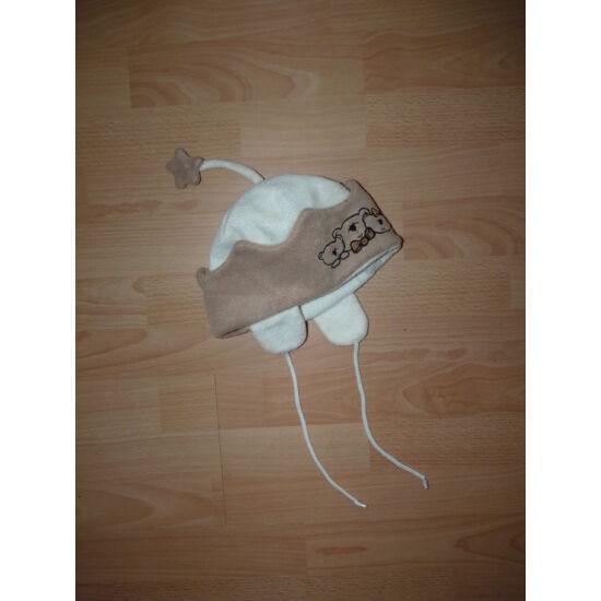Puha polár füles sapka macis mintával ~2-4 évesre