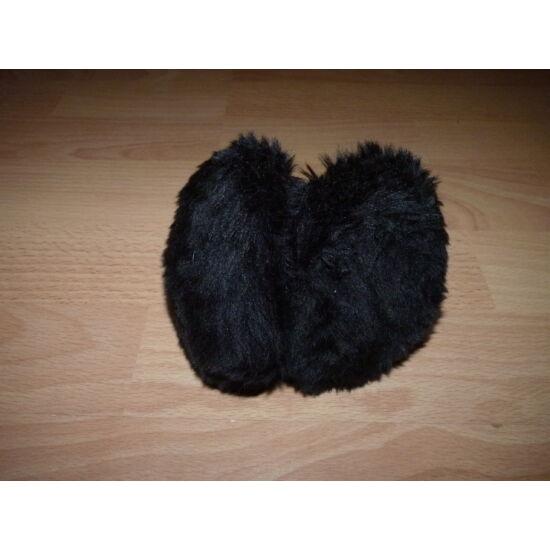 Fekete, újszerű, állítható méretű puha szőrme fülvédő