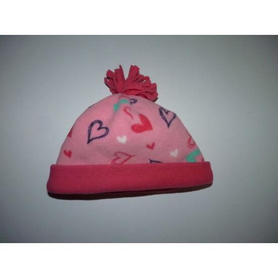 98-as rózsaszín szívecskés puha polár sapka