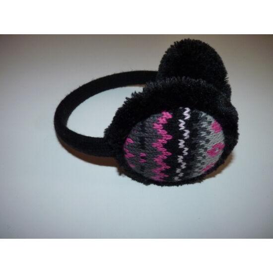Újszerű, puha, fekete, meleg fülvédő csajos mintával
