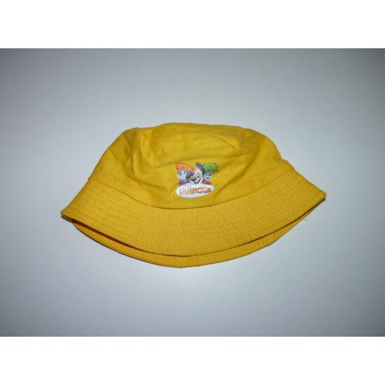 Vidám sárga kutyus mintás kalap, surda sapka ~3-6 év