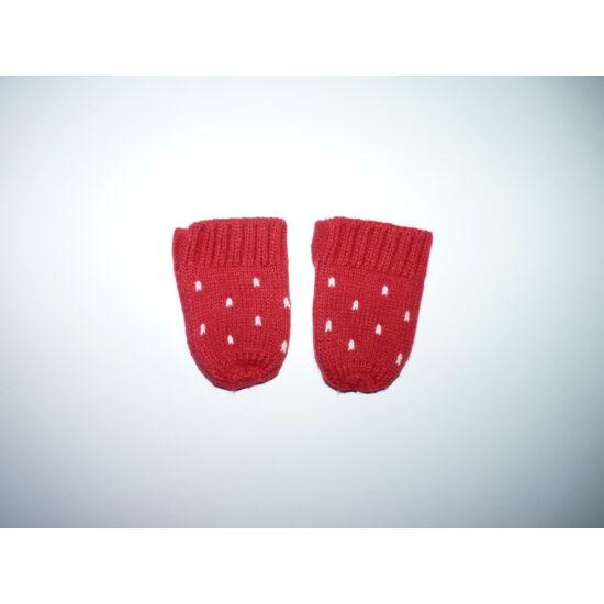 Piros hópelyhes kötött kesztyű 6-12 hó