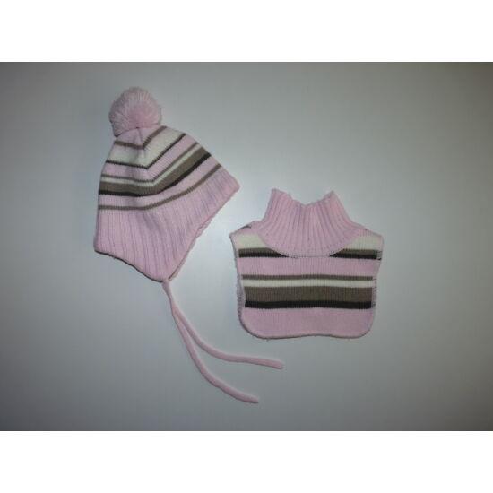 H M rózsaszín csíkos lány sapka-sál szett - ~6-24 hó - 74 ... 84582aeb57