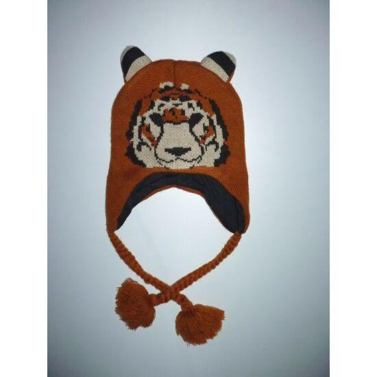 Kötött, füles sapka pamut béléssel, tigris mintával ~8-11 év