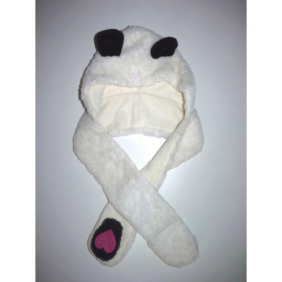 Puha állatmintás téli műszőrme sapka sál kesztyű - panda jelmez