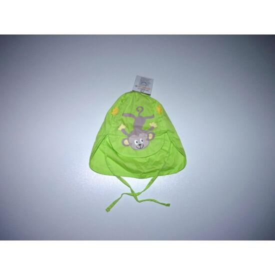 Neonzöld majmocskás pamut napsapka tarkóvédővel 6-9 hó - új