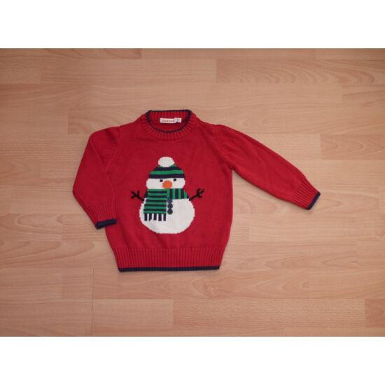 80/86-os meleg kötött pulóver hóember mintával