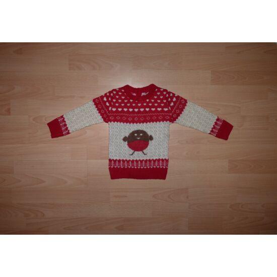 80/86-os kötött piros-drapp pulóver