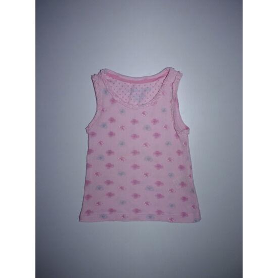 92/98-as tündéri fodros rózsaszín ujjatlan póló