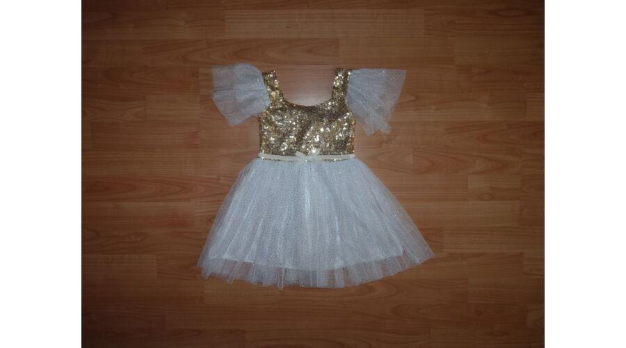 b2a8a45fbe 80/86-os gyönyörű arany, csillogós alkalmi ruha, angyal jelmez ...