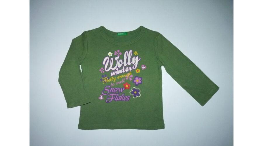 fc254f9ea1 80-as Benetton zöld csillogó mintás kislány felső - Pólók, felsők ...