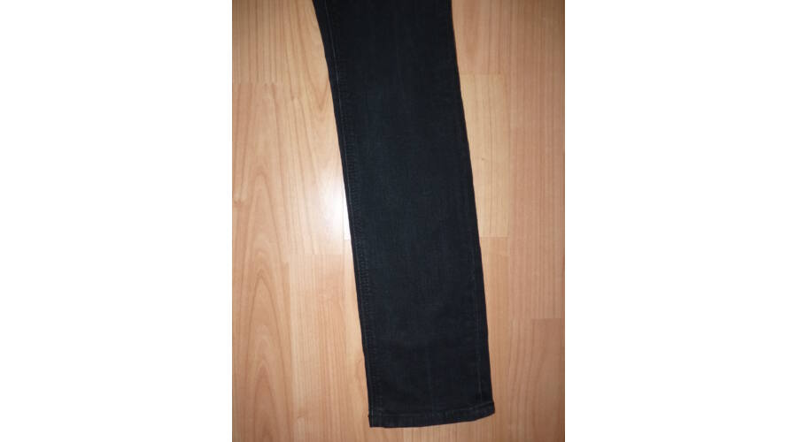 164170 es divatos, koptatott fekete farmernadrág Nadrágok