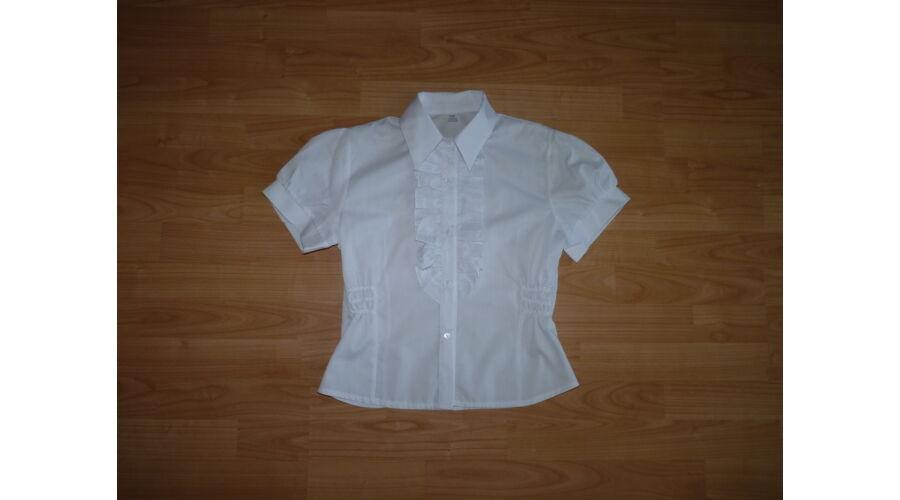 65d169b2b9 158-as csinos, fehér rövid ujjú alkalmi blúz - Pólók, felsők ...